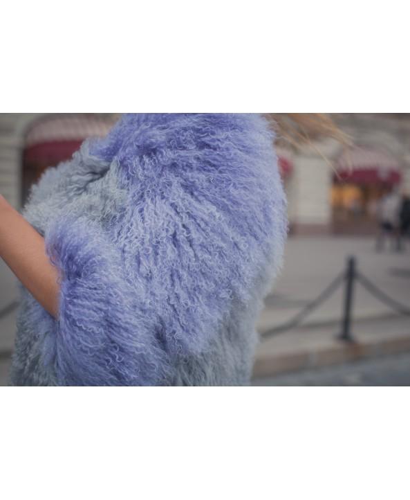 Куртка из Ламы серо-фиолетовая