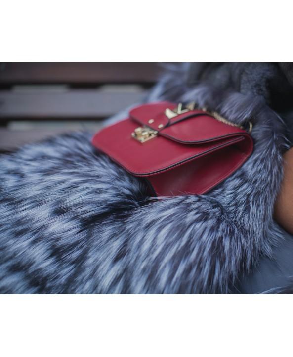 """Меховое пальто """"Голубой Ирис"""" из норки и лисы"""
