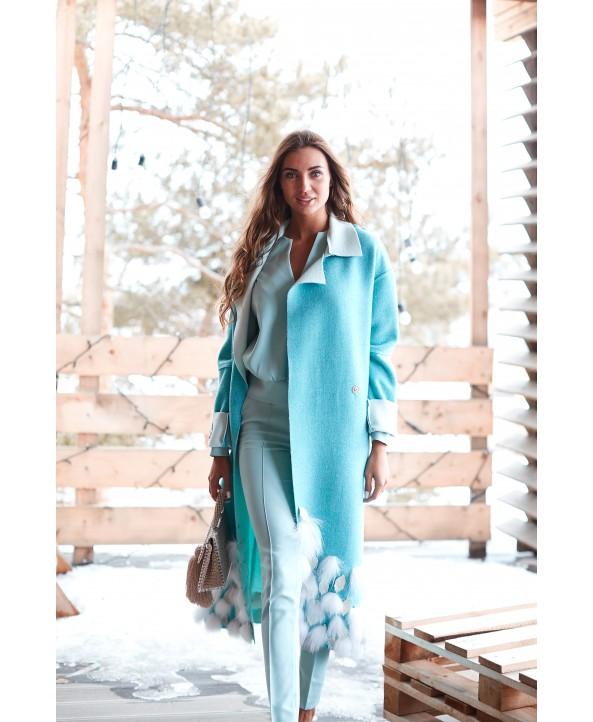 Пальто-накидка мех Лисы